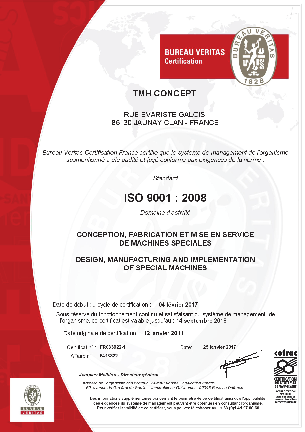 Certificat ISO 9001 TMH-concept